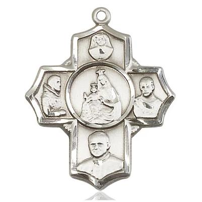 4 Way Medal - Sterling Silver - 1-1/8 Inch Tall x 1 Inch Wide