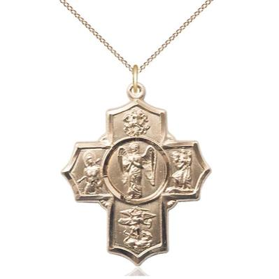 "4 Way Medal Necklace - 14K Gold Filled - 1-3/8 Inch Tall by 1-1/8 Inch Wide with 18"" Chain"