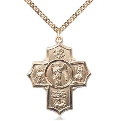 "4 Way Medal Necklace - 14K Gold Filled - 1-3/8 Inch Tall by 1-1/8 Inch Wide with 24"" Chain"