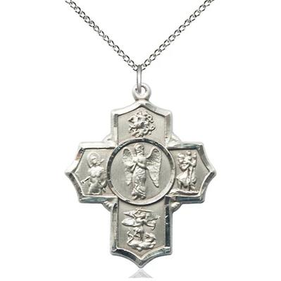 "4 Way Medal Necklace - Sterling Silver - 1-3/8 Inch Tall by 1-1/8 Inch Wide with 18"" Chain"