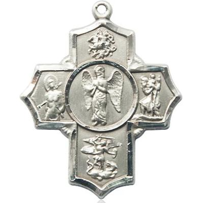 4 Way Medal - Sterling Silver - 1-3/8 Inch Tall x 1-1/8 Inch Wide