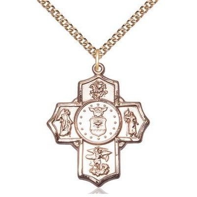 "5-Way Air Force Medal Necklace - 14K Gold - 1-1/4 Inch Tall x 1 Inch Wide with 24"" Chain"