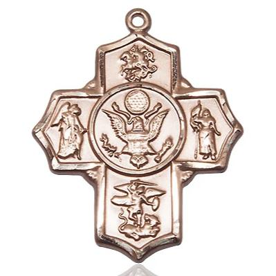 5-Way Army Medal - 14K Gold - 1-1/4 Inch Tall x 1 Inch Wide