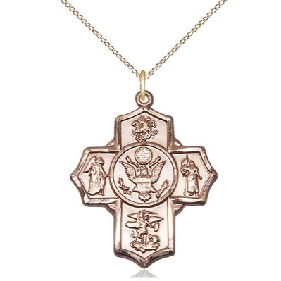 "5-Way Army Medal Necklace - 14K Gold - 1-1/4 Inch Tall x 1 Inch Wide with 18"" Chain"