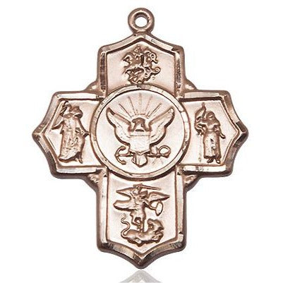 5-Way Navy Medal - 14K Gold - 1-1/4 Inch Tall x 1 Inch Wide