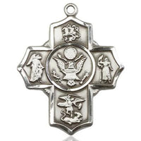 5-Way Army Medal - Pewter - 1-1/4 Inch Tall x 1 Inch Wide