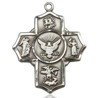 5-Way Navy Medal - Pewter - 1-1/4 Inch Tall x 1 Inch Wide