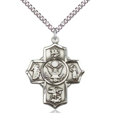 "5-Way Army Medal Necklace - Sterling Silver - 1-1/4 Inch Tall x 1 Inch Wide with 24"" Chain"