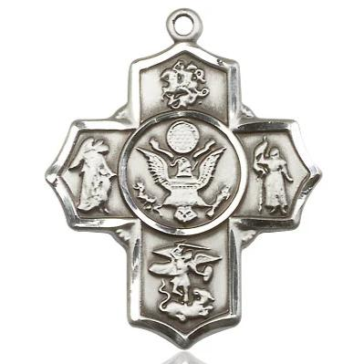 5-Way Army Navy Medal - Sterling Silver - 1-1/4 Inch Tall x 1 Inch Wide