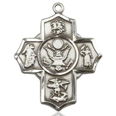 "5-Way Army Medal Necklace - Sterling Silver - 1-1/4 Inch Tall x 1 Inch Wide with 18"" Chain"