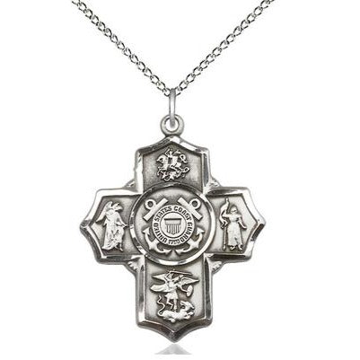 "5-Way Coast Guard Medal Necklace - Sterling Silver - 1-1/4 Inch Tall x 1 Inch Wide with 18"" Chain"