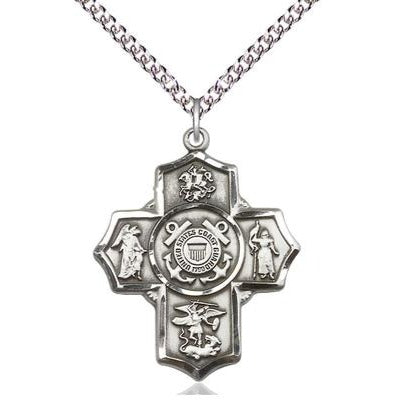 "5-Way Coast Guard Medal Necklace - Sterling Silver - 1-1/4 Inch Tall x 1 Inch Wide with 24"" Chain"