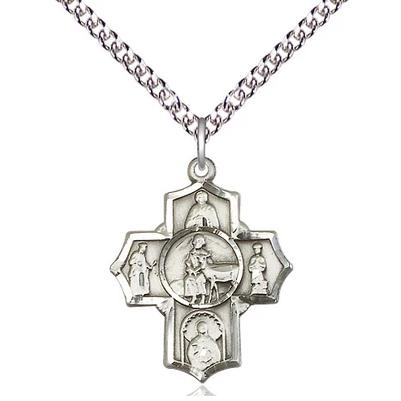 "5 Way Medal Necklace - Sterling Silver - 7/8 Inch Tall by 3/4 Inch Wide with 24"" Chain"