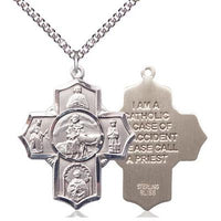 "5 Way Medal Necklace - Sterling Silver - 1-3/8 Inch Tall by 1-1/8 Inch Wide with 24"" Chain"