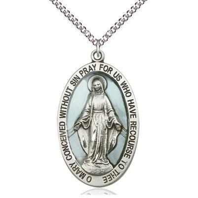"Miraculous Medal Necklace - Sterling Silver - 1-5/8 Inch Tall by 1 Inch Wide with 24"" Chain"