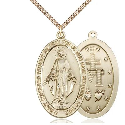 "Miraculous Medal Necklace - 14K Gold Filled - 1-5/8 Inch Tall by 1 Inch Wide with 24"" Chain"