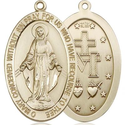 "Miraculous Medal Necklace - 14K Gold Filled - 1-5/8 Inch Tall by 1 Inch Wide with 18"" Chain"