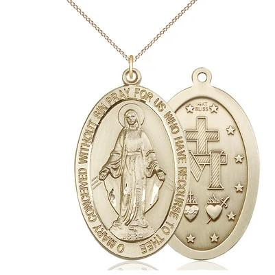 "Miraculous Medal Necklace - 14K Gold - 1-5/8 Inch Tall by 1 Inch Wide with 18"" Chain"