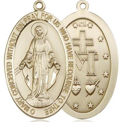 "Miraculous Medal Necklace - 14K Gold - 1-5/8 Inch Tall by 1 Inch Wide with 24"" Chain"