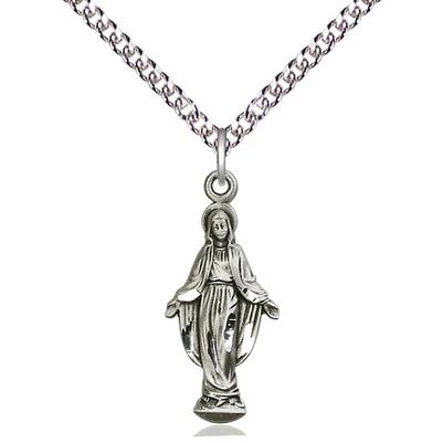 "Miraculous Medal Necklace - Sterling Silver - 7/8 Inch Tall by 3/8 Inch Wide with 24"" Chain"