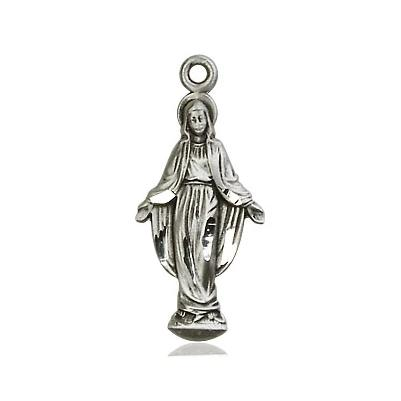Miraculous Medal - Sterling Silver - 7/8 Inch Tall by 3/8 Inch Wide