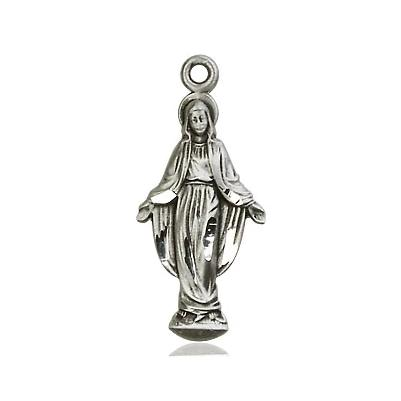 "Miraculous Medal Necklace - Sterling Silver - 7/8 Inch Tall by 3/8 Inch Wide with 18"" Chain"