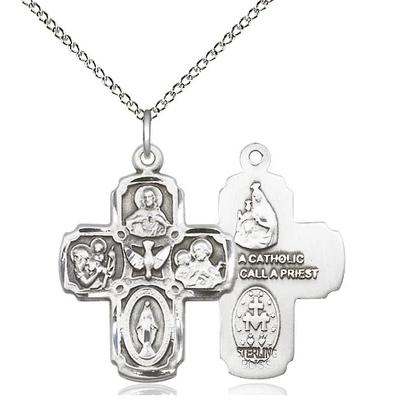 "5 Way Medal Necklace - Sterling Silver  - 1 Inch Tall by 3/4-Inch Wide with 18"" Chain"