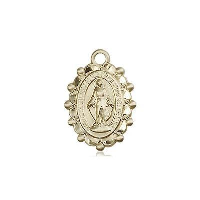 "Miraculous Medal Necklace - 14K Gold Filled - 5/8 Inch Tall by 3/8 Inch Wide with 18"" Chain"