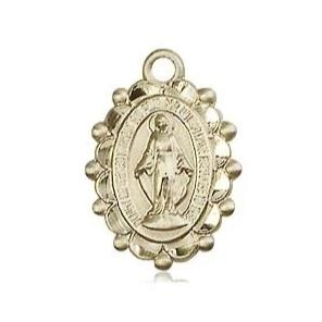 Miraculous Medal - 14K Gold - 5/8 Inch Tall by 3/8 Inch Wide