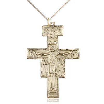 "San Damiano Crucifix Medal Necklace - 14K Gold - 2 Inch Tall x 1-3/8 Inch Wide with 18"" Chain"