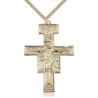 "San Damiano Crucifix Medal Necklace - 14K Gold - 2 Inch Tall x 1-3/8 Inch Wide with 24"" Chain"