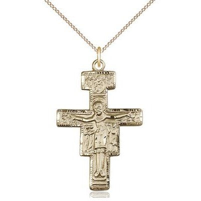 "San Damiano Crucifix Medal Necklace - 14K Gold - 1-1/4 Inch Tall x 7/8 Inch Wide with 18"" Chain"