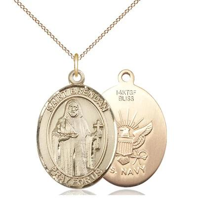"St. Brendan Navy Medal Necklace - 14K Gold Filled - 3/4 Inch Tall x 1/2 Inch Wide with 18"" Chain"