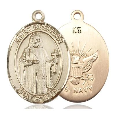 "St. Brendan Navy Medal Necklace - 14K Gold - 1 Inch Tall x 3/4 Inch Wide with 24"" Chain"