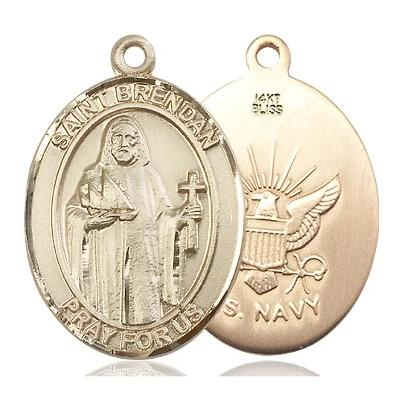"St. Brendan Navy Medal Necklace - 14K Gold - 3/4 Inch Tall x 1/2 Inch Wide with 18"" Chain"