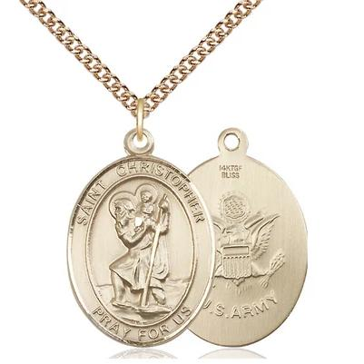 "St. Christopher Army Medal Necklace - 14K Gold Filled - 1 Inch Tall x 3/4 Inch Wide with 24"" Chain"