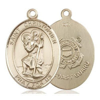 St. Christopher Coast Guard Medal - 14K Gold Filled - 1 Inch Tall x 3/4 Inch Wide