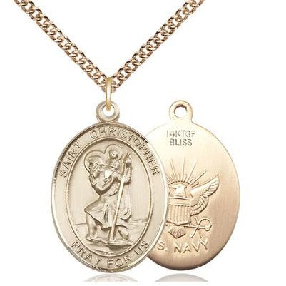 "St. Christopher Navy Medal Necklace - 14K Gold Filled - 1 Inch Tall x 3/4 Inch Wide with 24"" Chain"