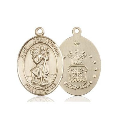 St. Christopher Air Force Medal - 14K Gold - 3/4 Inch Tall x 1/2 Inch Wide