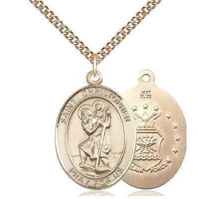 "St. Christopher Air Force Medal Necklace - 14K Gold - 1 Inch Tall x 3/4 Inch Wide with 24"" Chain"