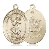 "St. Christopher Army Medal Necklace - 14K Gold - 1 Inch Tall x 3/4 Inch Wide with 24"" Chain"