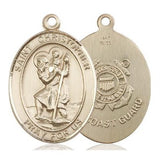 St. Christopher Coast Guard Medal - 14K Gold - 1 Inch Tall x 3/4 Inch Wide
