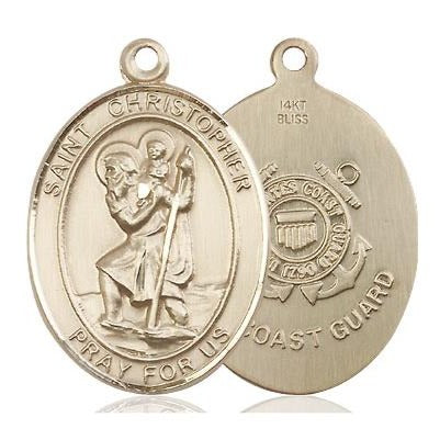 "St. Christopher Coast Guard Medal Necklace - 14K Gold - 1 Inch Tall x 3/4 Inch Wide with 18"" Chain"