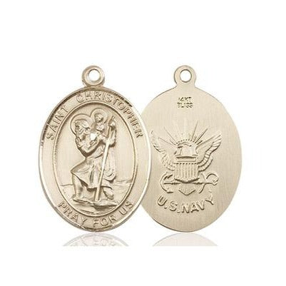 St. Christopher Navy Medal - 14K Gold - 3/4 Inch Tall x 1/2 Inch Wide