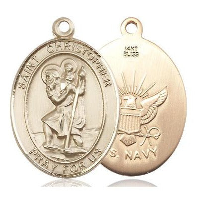 St. Christopher Navy Medal - 14K Gold - 1 Inch Tall x 3/4 Inch Wide