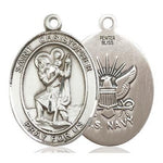 St. Christopher Navy Medal - Pewter - 1 Inch Tall x 3/4 Inch Wide