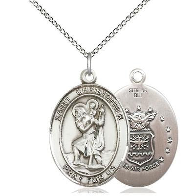 "St. Christopher Air Force Medal Necklace - Sterling Silver - 1 Inch Tall x 3/4 Inch Wide with 18"" Chain"