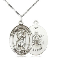 "St. Christopher Army Medal Necklace - Sterling Silver - 1 Inch Tall x 3/4 Inch Wide with 18"" Chain"
