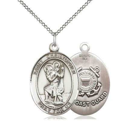 "St. Christopher Coast Guard Medal Necklace - Sterling Silver - 1 Inch Tall x 3/4 Inch Wide with 18"" Chain"