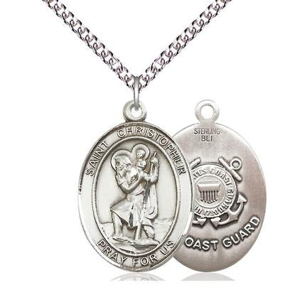 "St. Christopher Coast Guard Medal Necklace - Sterling Silver - 1 Inch Tall x 3/4 Inch Wide with 24"" Chain"